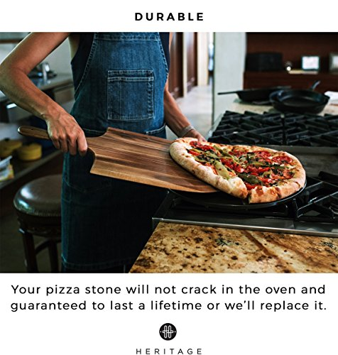 Heritage Black Ceramic Pizza Stone and Pizza Cutter Wheel - Baking Stones for Oven, Grill & BBQ - Non Stain by Heritage Products (Image #5)
