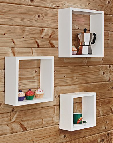 3er Set Wandregale, weiß aus FSC®-zertifiziertem Holz
