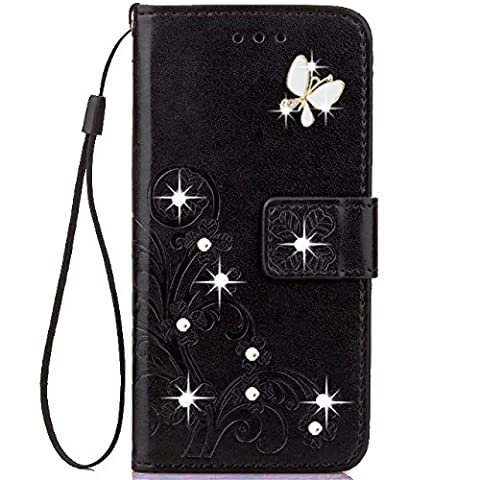 Moto G Play Case,HAOTP 3D Fashion Handmade Bling Crystal Rhinestone Butterfly Floral Lucky Flowers PU Flip Stand Credit Card ID Holders Wallet Leather Case for Moto G4 Play (Bling Phone Cases For Moto G)