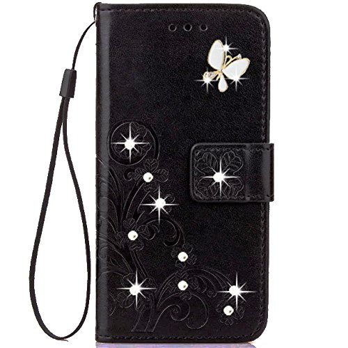 HAOTP Beauty Luxury 3D Fashion Handmade Bling Crystal Rhinestone Butterfly Floral Lucky Flowers PU Flip Stand Credit Card ID Holders Wallet Leather Ca…