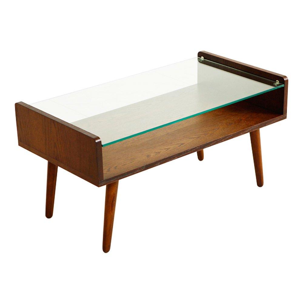 LOWYA (ロウヤ) テーブル ローテーブル ガラス&木製 収納棚付き ブラウン