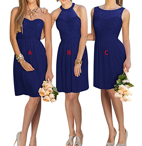 XJLY Lovelybride A Line Short Chiffon Prom Bridesmaid Dress Homecoming Party Dress Royal 17W