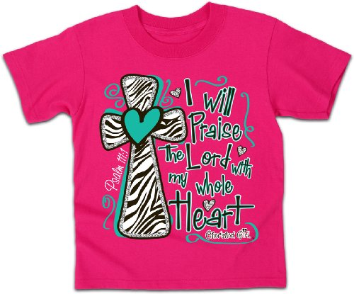 I Will Praise the Lord - Kidz Cherished Girl T-Shirt,Heliconia,Large (Will T-shirt Blend)