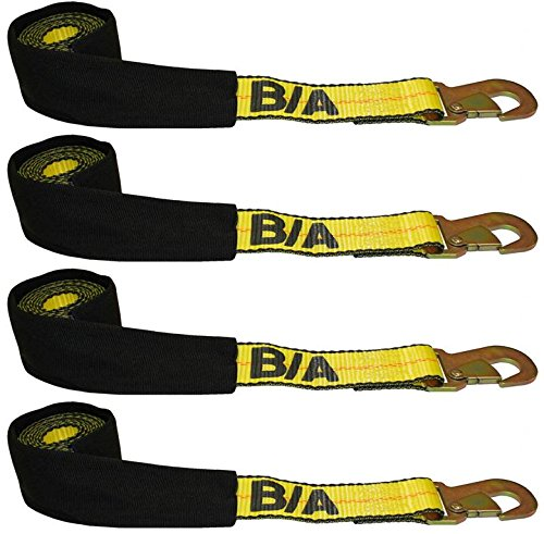 BA Products 38-3D-x4, Set of 4 Straps with Snap Hooks for Dynamic, Century, Vulcan Autoloader Wheel Lifts, Wreckers, Tow Trucks