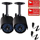 VideoSecu 2 Pack Bullet Outdoor CCTV Infrared Day Night Vision Security Cameras Weatherproof 520TVL High Resolution 36 IR LEDs for DVR Home Surveillance with Power Supplies WK8