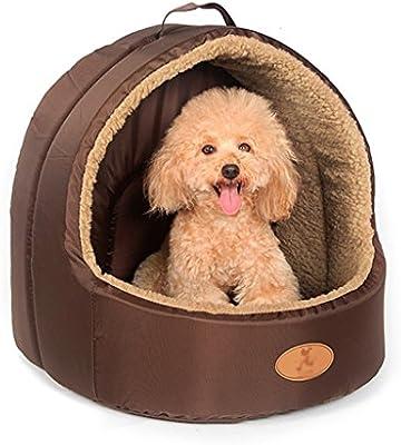 Xi Man Shop Cama para Perros pequeños Cojines Calientes Casa para Perros de Gamuza con Techo Villa extraíble para Mascotas (Size : S)