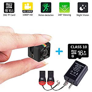 Mini Hidden Camera Sports Recorder FPV 1080P HD Smallest 16GB TF card 3.6mm IR Night Vision Car Video DVR Portable Tiny Action Camera Monitoring Motion Detection invisible spy camera Black