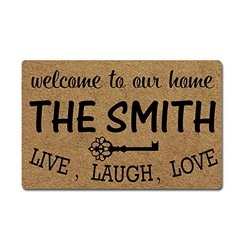 Artsbaba Custom Family Name Personalized Doormat Welcome Live Laugh Love Door Mat Rubber Non-Slip Entrance Rug Floor Mat Funny Home Decor Indoor Mat 23.6 x 15.7 Inches, 3/16