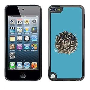 Caucho caso de Shell duro de la cubierta de accesorios de protección BY RAYDREAMMM - Apple iPod Touch 5 - City Street Urban Blue Ball