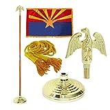 Arizona 3ft x 5ft Flag, Flagpole, Base, and Tassel (Metal Eagle, 8 Ft Oak Pole)