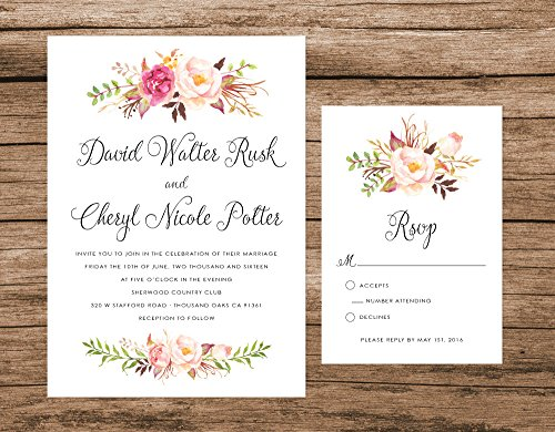 Rustic Wedding Invitation, Watercolor Floral Wedding Invitation, Script Wedding Invitation by Alexa Nelson Prints