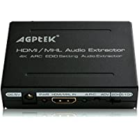 AGPtek HDMI Audio (SPDIF+R/L) Extractor Support Ultra HD 4K x 2K /ARC / Toslink Optical Audio Output + RCA L/R Audio Converter - Support Full HD 1080P, 3D, 4K x 2K Resolution