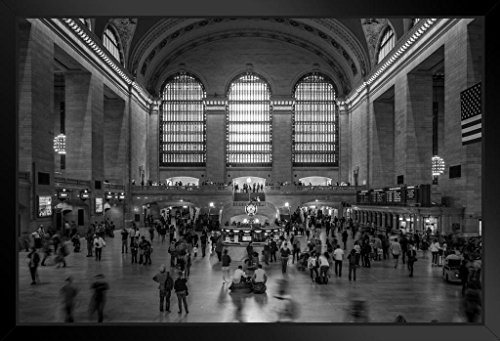 Grand Central Station New York City NYC B&W Photo Art Print Framed Poster 18x12 by ProFrames (Grand Central Train Station)