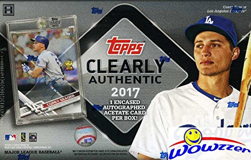 2017 Topps Clearly Authentic Baseball Factory Sealed HOBBY Box with Encased AUTOGRAPH ACETATE Card! Look for SIGNED Cards of Derek Jeter, Aaron Judge, Mike Trout, Sandy Koufax, Ichiro & More! (Signed Autograph Baseball)