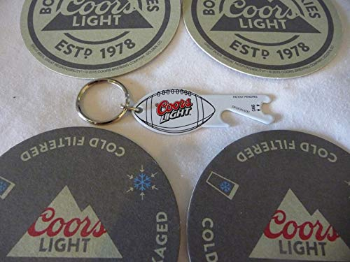Coors Light Keychain Bottle Opener/Football and Coaster Set - Coors Light Coaster Set