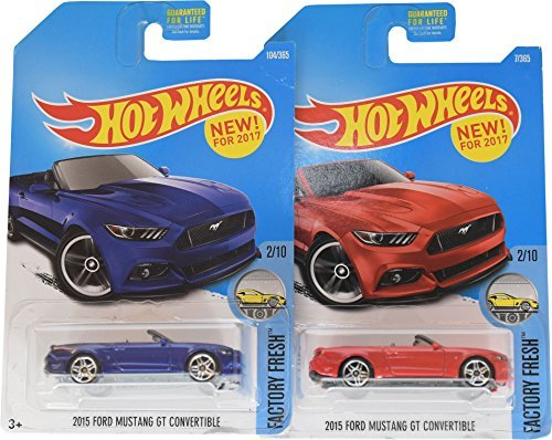 Hot Wheels 2017 Factory Fresh 2015 Ford Mustang GT Convertible 2/10, Set of 2, Red & Blue variations