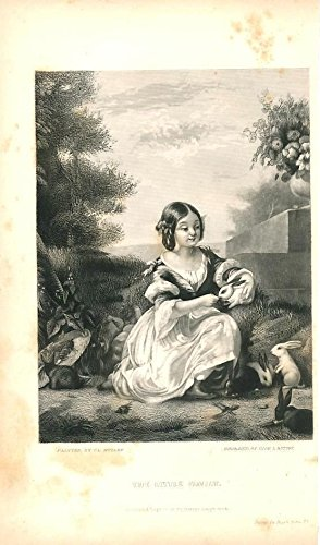 Little girl playing with bunny rabbits 1851 nice antique domestic print