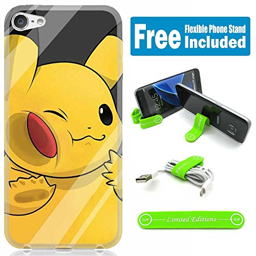 [Ashely Cases] Apple iPod Touch 5th/6th Generation Cover Case Skin with Flexible Phone Stand - Pokemon Pikachu Window - Ipod Touch Pokemon Case