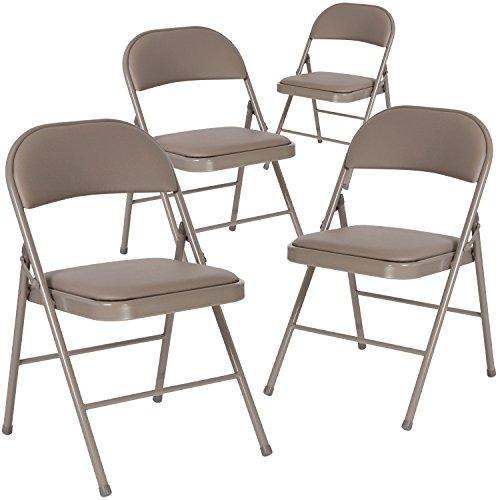 Flash Furniture 4 Pk. HERCULES Series Double Braced Gray Vinyl Folding Chair