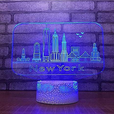 ganjue 3D USB 7 Cambio de color Botón táctil Lámpara de mesa de ...