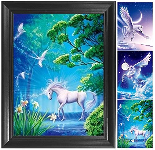 (Unicorn & Pegasus 3D Poster Wall Art Decor Framed Print | 14.5x18.5 | Lenticular Posters & Pictures | Memorabilia Gifts for Guys & Girls Bedroom | Fantasy Picture for Little Kid's Room Decorations)