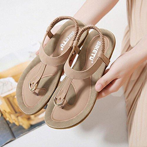 Anti LuckyGirls Bohème Femme Sandales Pantoufles Soft Femmes Sandales Chaussures en Rose D'été Confortable Bottom Dérapant Cuir Taille La Plus Flat Yrq8xYt