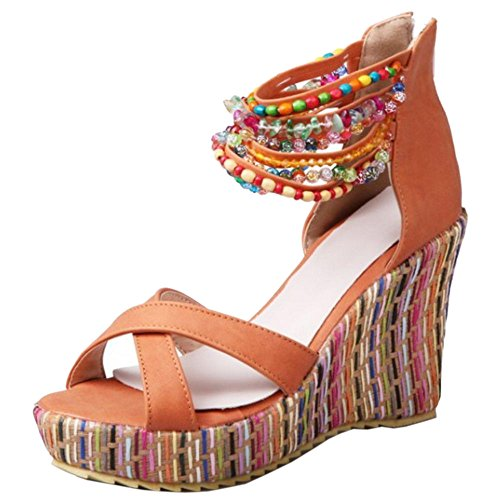 COOLCEPT Mujer Moda Correa de Tobillo Sandalias Punta Abierta Tacon de Cuna Zapatos con Cremallera Naranja