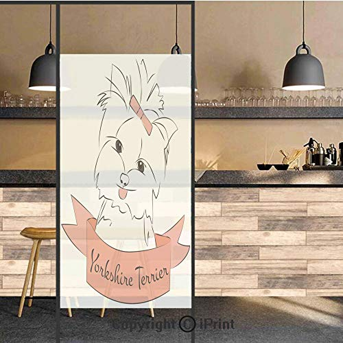 (3D Decorative Privacy Window Films,Cute Puppy with Hair Buckle Yorkie Terrier Animal Ribbon Cartoon Character Print Decorative,No-Glue Self Static Cling Glass film for Home Bedroom Bathroom Kitchen Of)