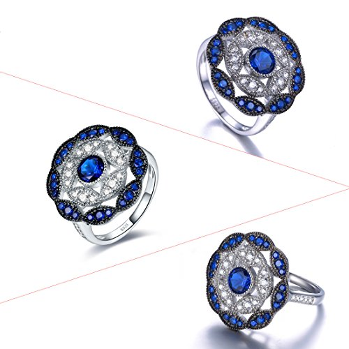 Jrose 925 Sterling Silver Vintage Created Blue Sapphire Cluster Cocktail Ring for Women by jrose (Image #6)