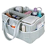 Amamcy Baby Diaper Bag Caddy Cotton Organizer Large Nursery Storage Bin and Changing Table Basket Car Travel Perfect Baby Shower Gift with Removable Compartments