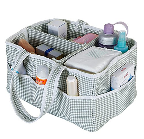 Tool Box Diaper Caddy - Amamcy Baby Diaper Bag Caddy Cotton Organizer Large Nursery Storage Bin and Changing Table Basket Car Travel Perfect Baby Shower Gift with Removable Compartments