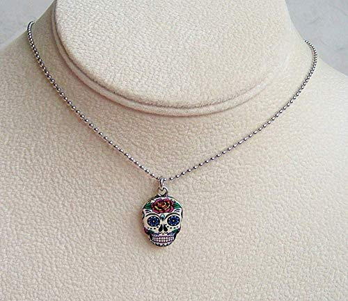 Multi Color Sugar Skull Rose Flower Enamel Charm Stainless Steel Necklace Day Of The Dead Gift Idea