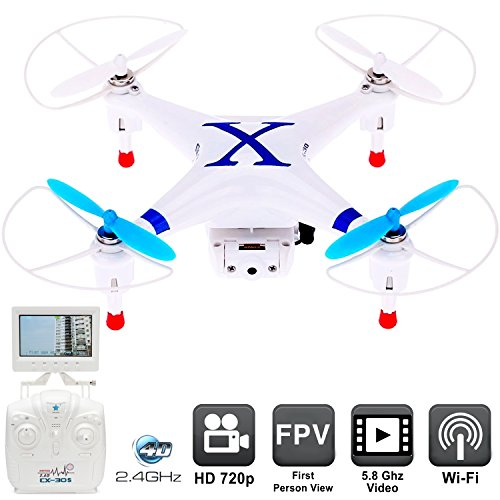 Drone with Camera CX-30S First Person View Monitor – RC Drones FPV Quadcopter Helicopter for sale – Flying with Live Video Feed 5.8Ghz, Easy Control 6 Axis Gyroscope [USA Warranty 100% Guaranteed]