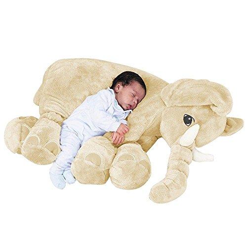 Almofada Elefante de Pelúcia Soft Grande Marfim