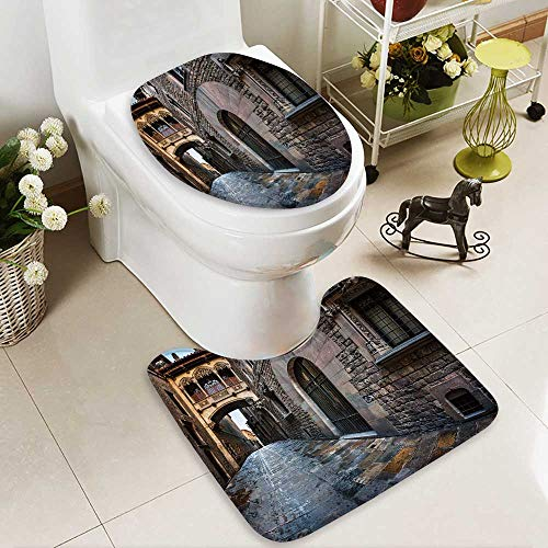 aolankaili U-shaped Toilet Mat-Soft Barri Gothic Quarter and Bridge of Sighs in Barcelona,Catalonia,Spain 2 Piece Toilet Toilet mat by aolankaili