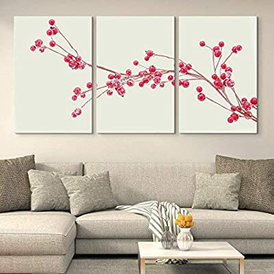 3 Panel Canvas Wall Art - Red Small Fruits on The Branch - Giclee Print Gallery Wrap Modern Home Art Ready to Hang - 16