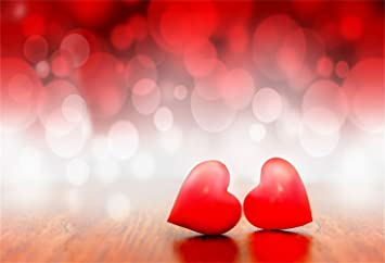 Laeacco 7x5ft Romantic Heart Haloes Backdrop Vinyl Sweet Red Bokeh Heart Haloes Glitter Photo Background Lovers Photographic Marriage Anniversary Banner Valentines Day Poster Candlelight Dinner