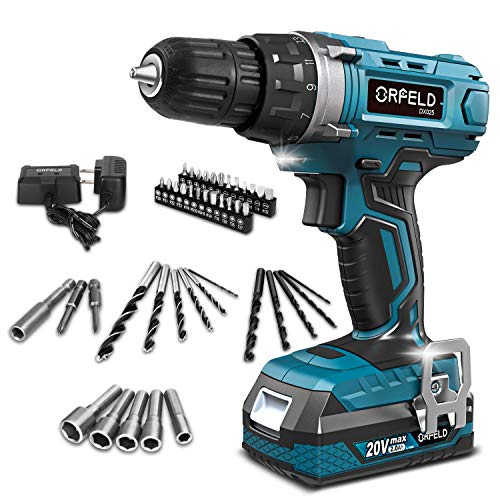 ORFELD Cordless Drill, 20V Drill Driver with 2.0Ah Battery, Built-in LED, 2 Variable Speed, 270 In-lbs Torque, 20 Clutch, 3/8