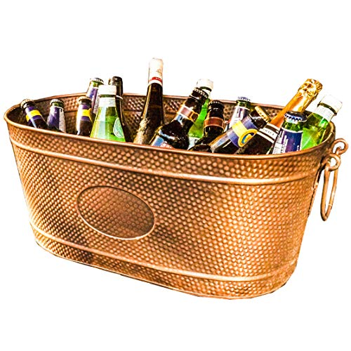 - BREKX Copper Finish Galvanized Hammered Creighton Pebbled Beverage Party Tub - 35 Quart