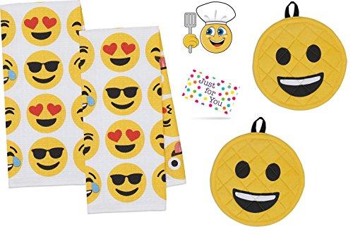 J4U Emoji Kitchen Set - 2 Waffle Towels, 2 Potholders, and C