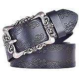 Talleffort Women's Flower Genuine Cowhide Leather Jeans Belts (Waist Under 36'', Black 6)