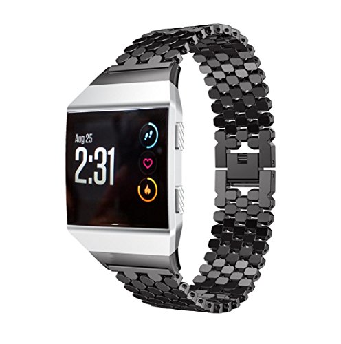 Price comparison product image For Fitbit Ionic Band,  Gotd Stainless Steel Replacement Sport Band for Fitbit Ionic Smart Fitness Watch Large Small Men Women (Black)