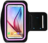 Galaxy S6 / S6 Edge Running & Exercise Armband with Key Holder & Reflective Band (Pink)