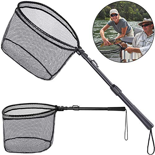 ODDSPRO Fishing Net Fish Landing Net, Foldable Collapsible Telescopic Pole Handle, Durable Nylon Material Mesh, Safe Fish Catching or Releasing (39'' Extended Length)