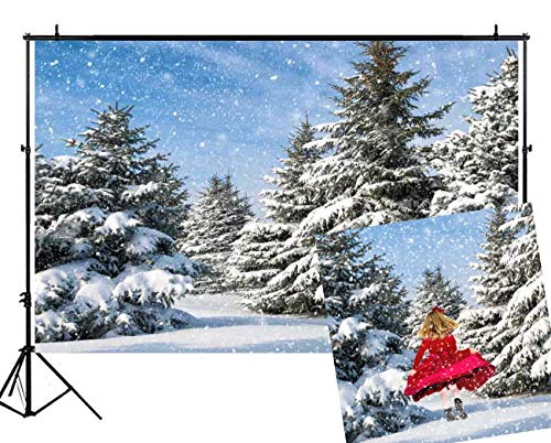 Funnytree 7x5ft Christmas Winter Forest Backdrops for Photography White Snow Pine Trees Glitter Snowflake Background Blue Sky Outdoor Party Baby Child Family Portrait Photobooth Photo Studio Props