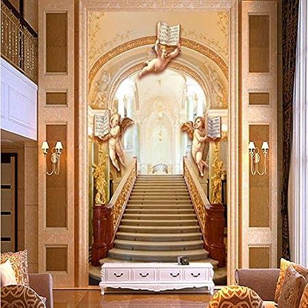 Lxsart Murale Européenne Or Escalier Ange 3d Hall Entrée
