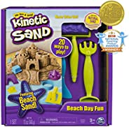 The One and Only Kinetic Sand, Beach Day Fun Playset with Castle Molds, Tools, and 12 oz. of Kinetic Sand  for Ages 3 and Up