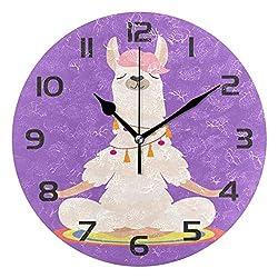Dozili Yoga Llama Animal Alpaca Decorative Wooden Round Wall Clock Arabic Numerals Design Non Ticking Wall Clock Large for Bedrooms, Living Room, Bathroom