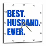 3dRose Dark Blue Best Husband Ever – Bold Text Design Romantic Gifts For Him – Wall Clock, 10 by 10-Inch (dpp_179726_1) For Sale