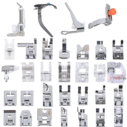 ◕‿◕ Professional Domestic 32 pcs Sewing Machine Presser Feet Set for Brother, Babylock, Singer, Janome, Elna, Toyota, New Home, Simplicity, Necchi, Kenmore, and White Low Shank Sewing Machines 1 Zig Zag Sewing Machine